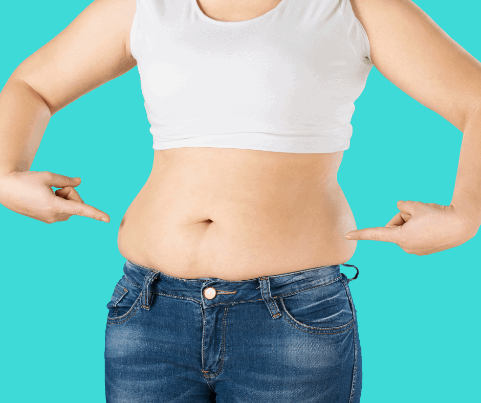 woman pointing to belly fat